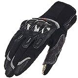 ILM Carbon Fiber Air Motorcycle Gloves Touchscreen Full Finger Outdoor Summer Gloves (L, BLACK)