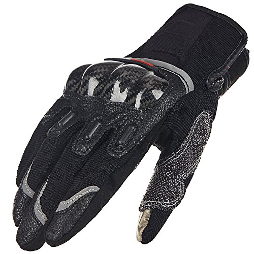 ILM Carbon Fiber Air Motorcycle Gloves Touchscreen Full Finger Outdoor Summer Gloves (L, BLACK)