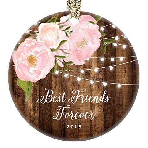 Best Friends Forever 2019 Christmas Ornament Modern Country Rustic Pink Peonies Holiday Gift Close Women Family Soul Sister Girlfriend Keepsake 3