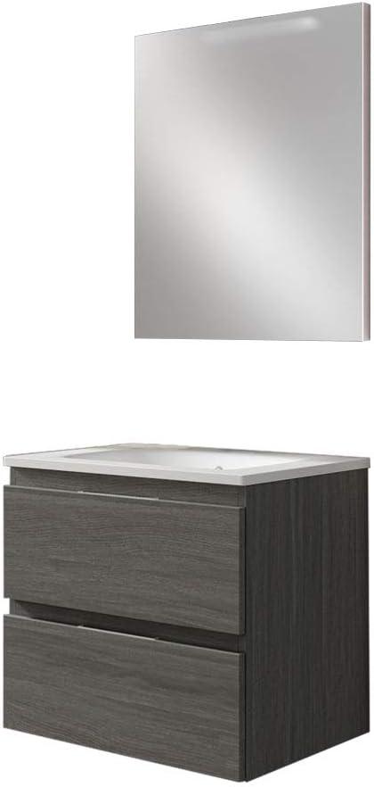 Colore Frassino Grigio Arcibold Home Mobile Bagno sospeso da 60 cm 2 cassetti con Freno con lavabo in Ceramica e Specchio Liscio