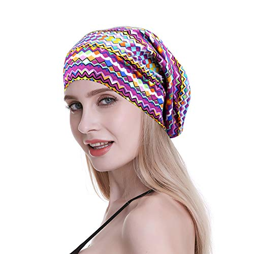 Satin Lined Sleep Cap for Long Hair Women Casual Slouchy Beanie Wig Headwear Pink Feminine