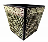 Decorative Waste Baskets for Bedroom Bathroom Office Elephant Desk Accessories 8 Inch (Black)