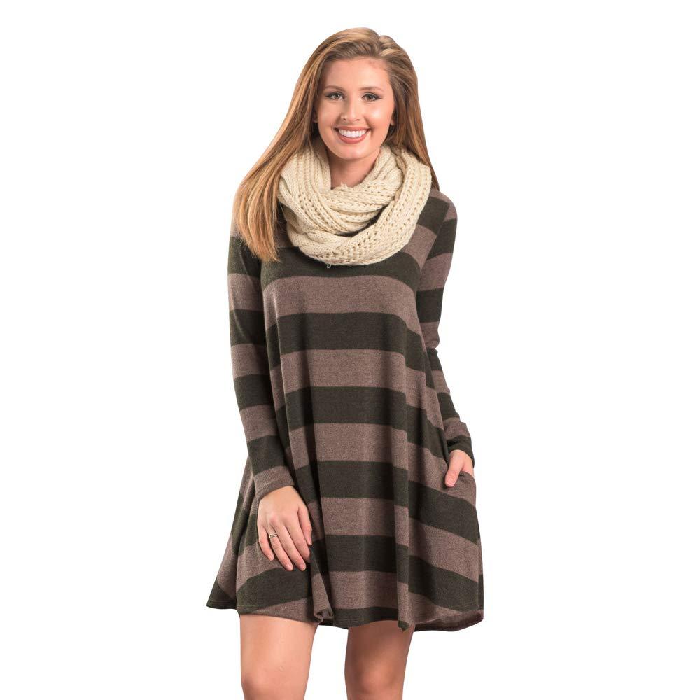 03army Green fancymano Womens Classic Wide Stripes Long Sleeve Elastic Loose Mini Dress Yellow