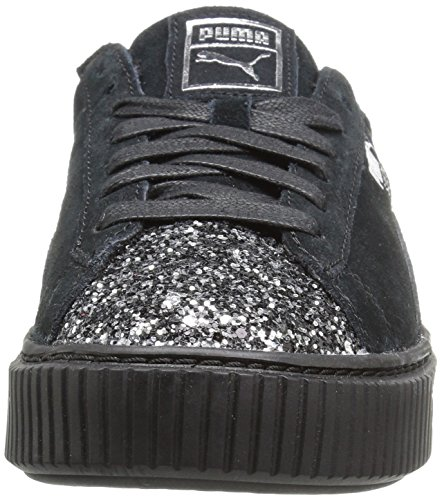 Crushed Leather Suede Sneaker PUMA Gem Platform Black Puma Aged Fashion Puma Silver Women's wOSXqxCt