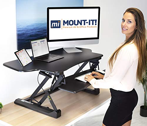 "Mount-It! Height Adjustable Standing Desk Converter | 48"" Wide Tabletop Sit Stand Desk Riser with Gas Spring 