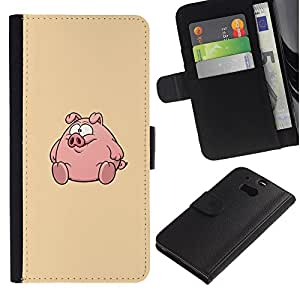 UberTech / HTC One M8 / Pig Round Fat Cute Cartoon / Cuero PU Delgado caso Billetera cubierta Shell Armor Funda Case Cover Wallet Credit Card