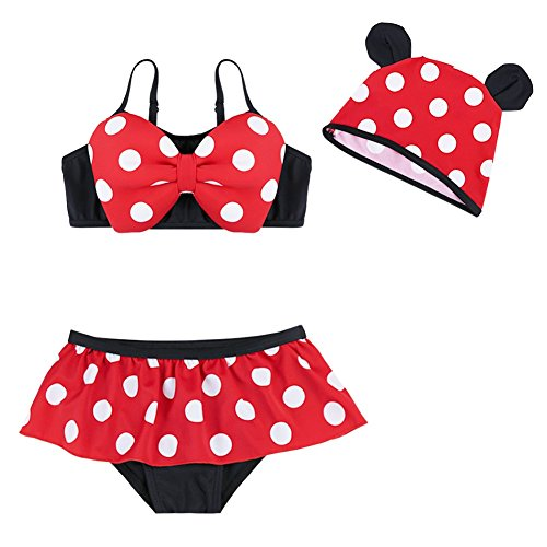 YiZYiF Toddler Girl Polka Dots Swimsuit 3 Pieces Bathing Costume with (3 Piece Polka Dots Bikini)
