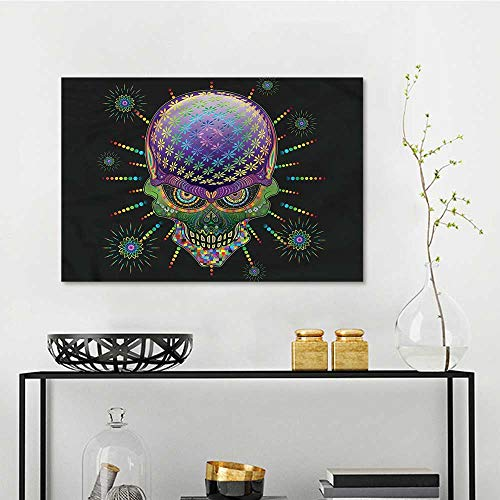 one1love Psychedelic Pattern Oil Painting Halloween Mexico Skull Easy Care Oil Painting W23 xL31 -