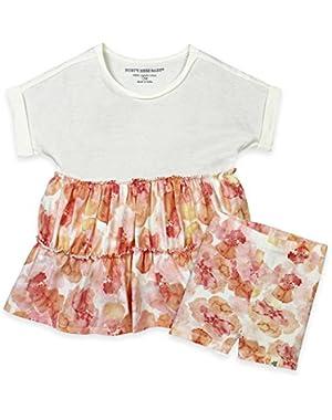 Baby Girls 2-piece Organic Cotton Coral Shirt Dress and Shorts Set