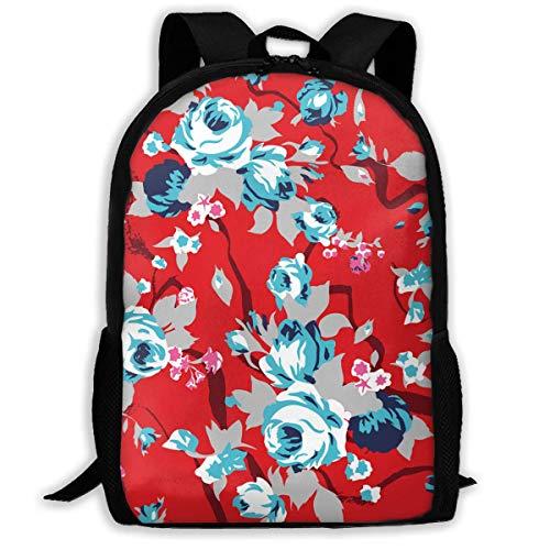 Sunmoonet Unisex Adult School Backpack Vintage Red Chintz Roses Pattern Bookbag Casual Travel Bag