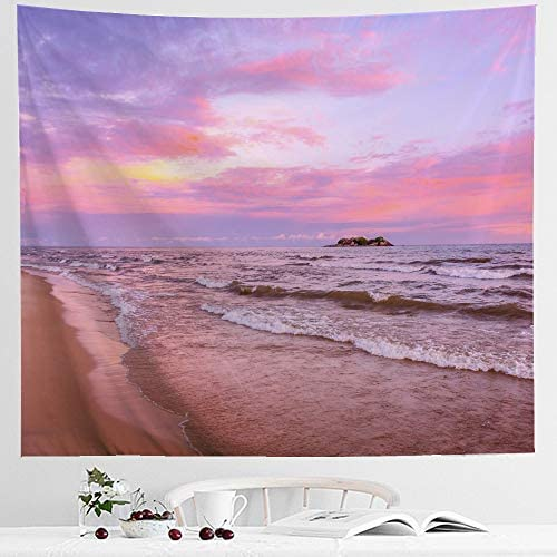 IcosaMro Ocean Tapestry Wall Hanging, Sea Beach Wave Sun Cloud Landscape Scenery Nature Wall Art Double-Folded Hems Bohemian Home Decor for Bedroom, Dorm, College, Living Room, 60×82.7, Pink