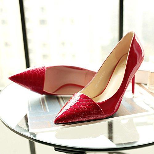 fino con cuero solo shoes Rojo mujer 7 cm y tacón Verde de zapatos wedding Punta zapatos boca de de poca zapatos pintado versátil de R4yqOXcaIH