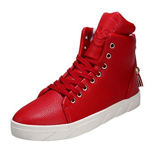 Sun Lorence Men's Fashion PU Leather Unique Skull Decorated Casual High Top Sneakers Red 10 M US Men