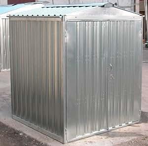Caseta de chapa galvanizada, con estructura de acero galvanizado 2,54x 2,60x 2,11(altura) m, con puerta de dos batientes, mod. Sapilbox