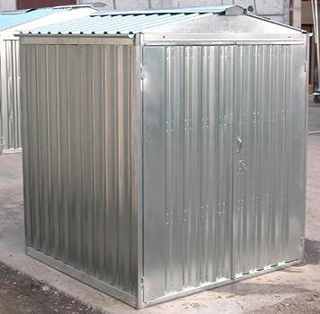 Box Caseta de chapa galvanizada con estructura de acero galvanizado MT. 3,43 x 2,60 x 2,11 H con puerta a dos puertas Mod. sapilbox: Amazon.es: Jardín