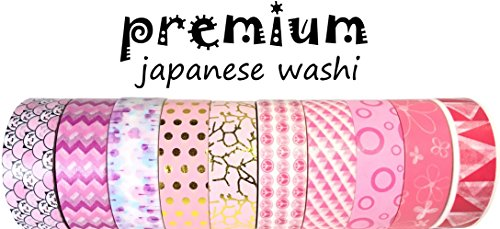 Premium Japanese Washi Tape By L'artisant Set Of 10 Beautiful Rolls. Pretty Pink. (Washi Tape Mail)