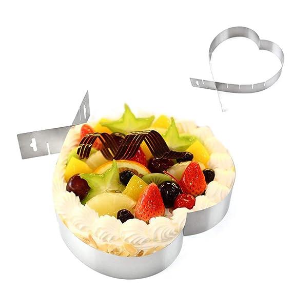Fliyeong Premium einstellbar Edelstahl Kuchen Backform Herzform Kuchenform