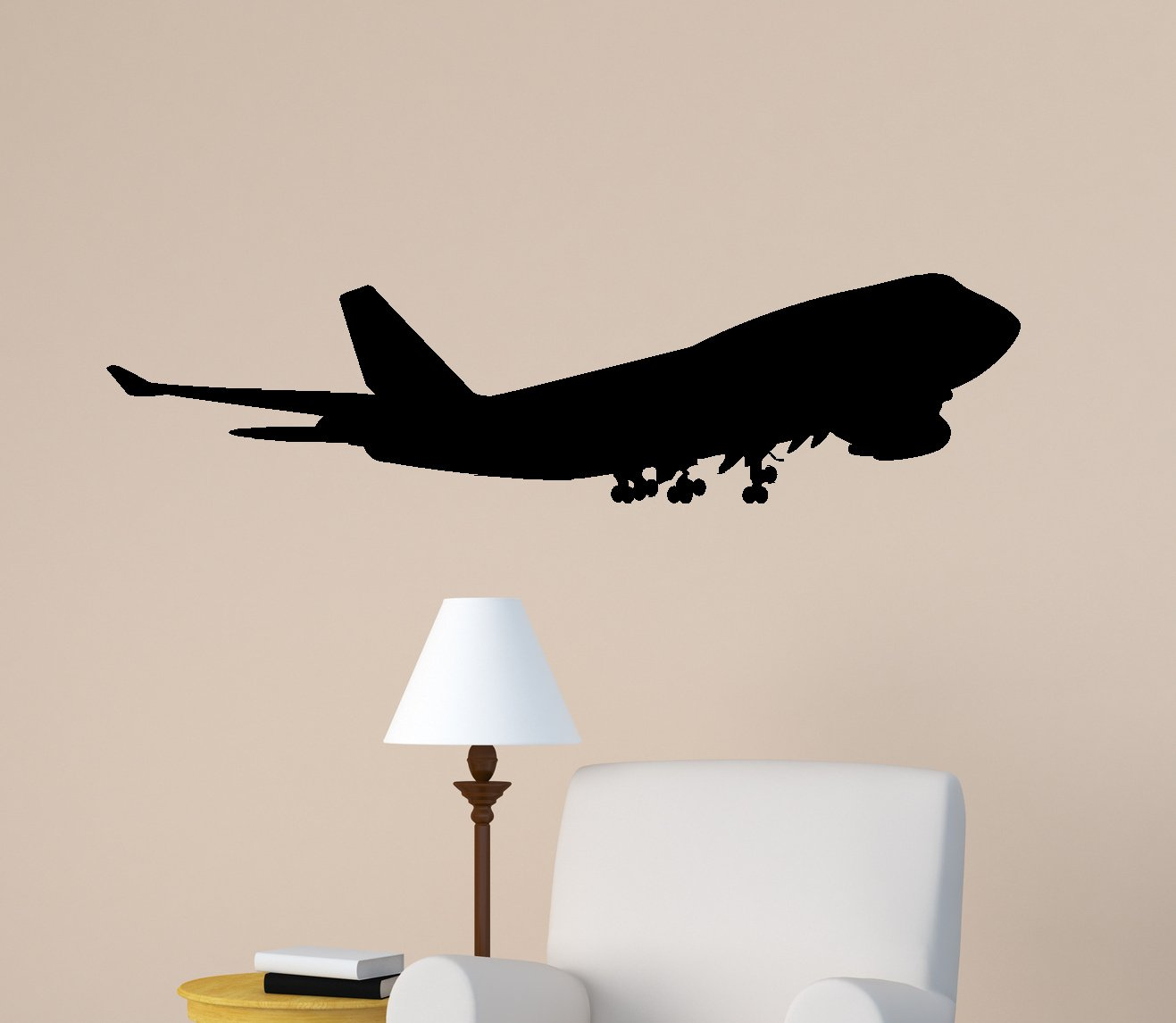 Aircraft Wall Decal Jet Airliner Sticker Aviation Room Decor Kids Boys Room Mural Airplane Jumbo Jet College Dorm Office Decor (13 X 48 inches)