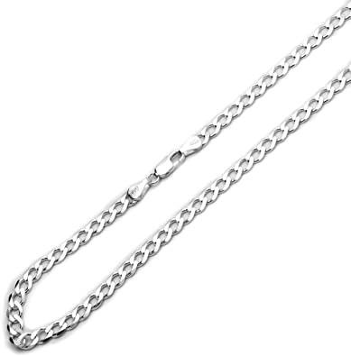 16, 18, 20, 22, 24, 26, 28, 30 Inch Sterling Silver 3mm Italian Solid Curb Link Chain Necklace
