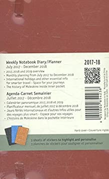 Moleskine 18 Month Weekly Planner, Pocket, Scarlet Red, Hard Cover (3.5 x 5.5)