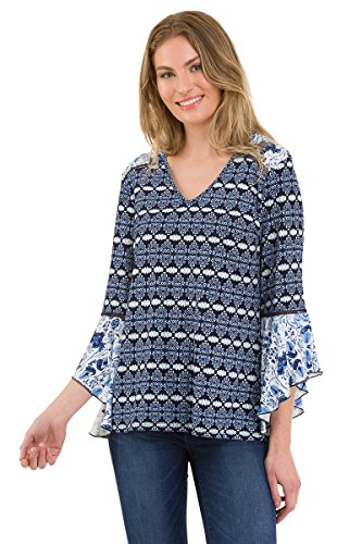 (Como Blu Women's V-Neck Bell Sleeve Printed Knit Top (Blue or Red) - Blue, Small)