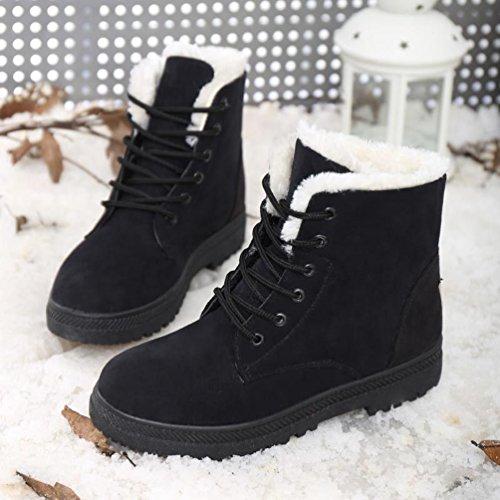 Baymate Casual Winterschuhe Damen Stiefeletten mit Warm Gefüttert Flach Anti Rutsch Sohle Mädchen Schneestiefel Outdoor Boots Schwarz