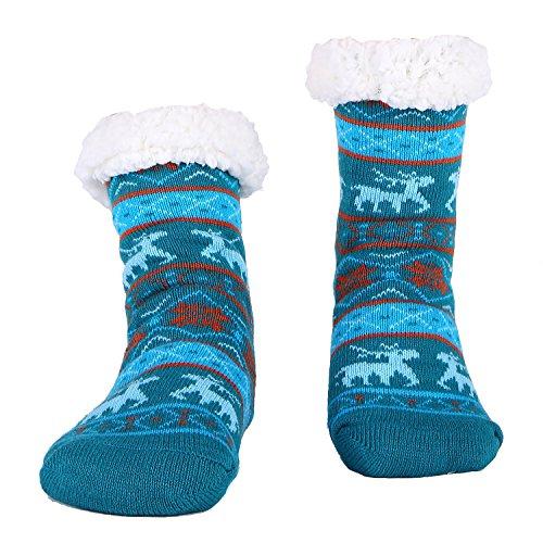 Women Slipper Socks Fleece Non Slip Sherpa grippers Winter Sleep Sock Dark Green (Free Shipping Australia)