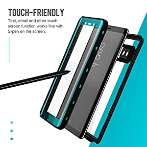 Samsung Galaxy Note 8 Waterproof Case - SHARKCASE IP68 Certified Underwater Protective Case with Built in Screen Protector for Samsung Galaxy Note 8, 6.3'' [Aquamarine]