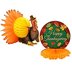 Set of 2 Harvest Turkey Table Centerpiece Happy Thanksgiving Tissue Honeycomb Fall Autumn Party Supplies Decorations By Gift Boutique