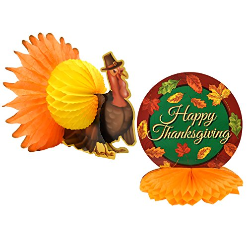 Gift Boutique Set of 2 Harvest Turkey Table Centerpiece Happy Thanksgiving Tissue Honeycomb Fall Autumn Party Supplies Decorations