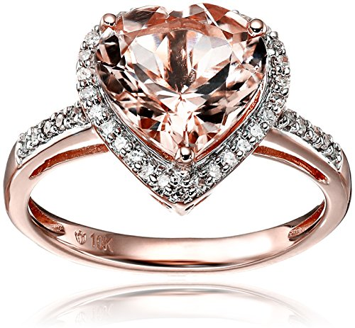 10k rose gold morganite and diamond heart halo engagement ring 15cttw h i color i1 i2 clarity size 7 amazoncom - Cute Wedding Rings