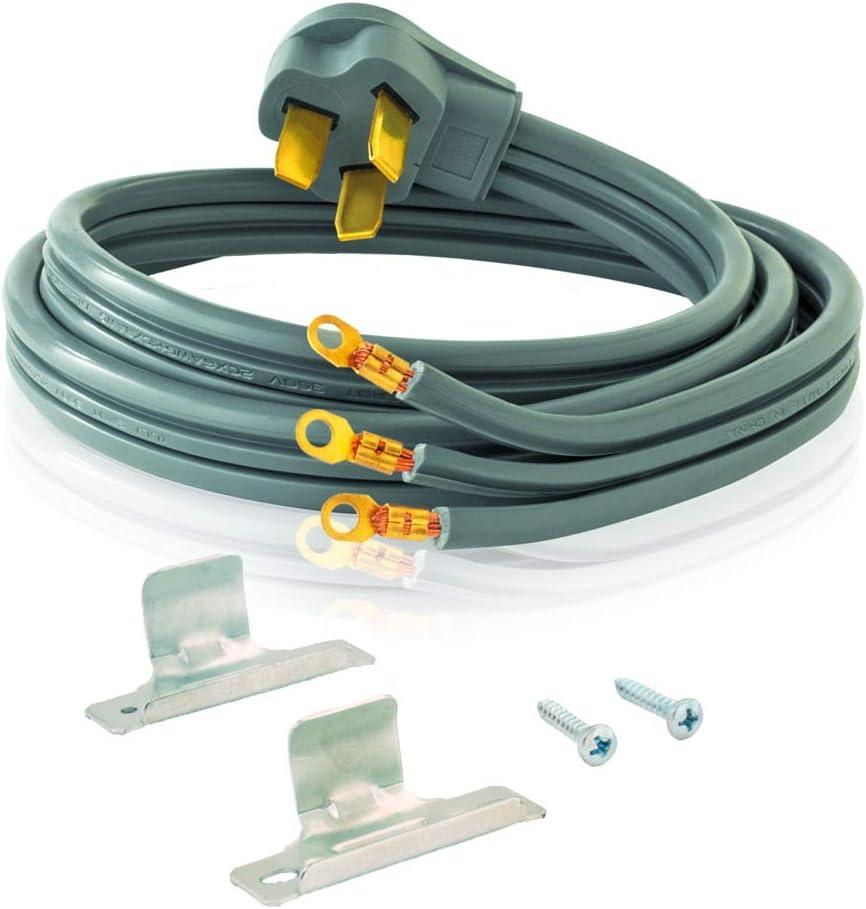 Eastman 61269 3-Prong Electric Range Cord ,40 Amps, 6 Ft Length, Grey