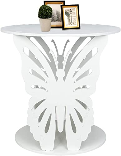 SSLine Modern Coffee End Table White Finish Chair Sofa Side Table Creative Round Night Stand with Storage Shelf Butterfly Design Accent Magazine Snack Table for Living Room Bedroom Balcony