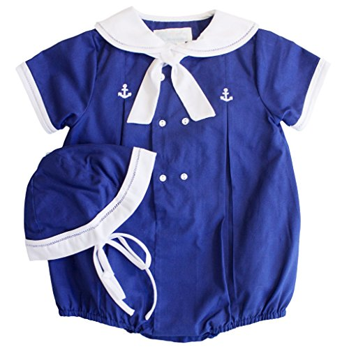 Petit Ami Baby Boys' Sailor Romper with Embroidered Anchors, Newborn, Navy ()