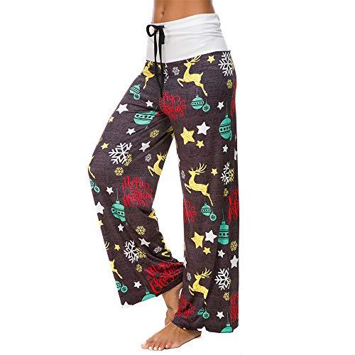 - Toimothcn Yoga Pants Women Christmas Prints Xmas Hight Waist Adjustable Leggings Loose Drawstring Wide Leg Pants (Dark Gray,S)