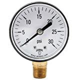 Winters PEM Series Plastic Dual Scale Economical All Purpose Pressure Gauge with Brass Internals, 0-30 psi/kpa, 2'' Dial Display, +/-3-2-3% Accuracy, 1/4'' NPT Bottom Mount
