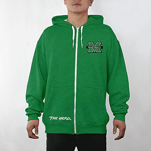 Elite Fan Shop Marshall Thundering Herd Full Zip Hooded Sweatshirt Icon Green - XXL - Marshall Thundering Herd Pocket