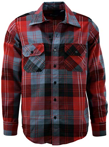 ChoiceApparel Mens Soft and Durable Button Down Flannel Long Sleeve Shirts (Many Patterns and Colors) (XL, 5-Red)