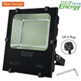 50W Led Garden Flood Lights Outdoor Waterproof Floodlight (with UK 3-Plug), Upgraded Workshop Light, Super Bright 250 LED, 4500LM, Soft Daylight White, 400W Equivalent, Input 86-265V.