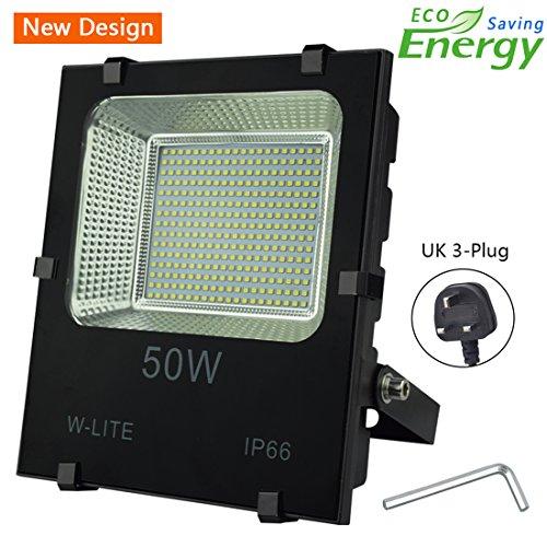 50W Led Garden Flood Lights Outdoor Waterproof Floodlight (with UK 3-Plug),...