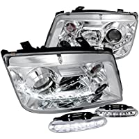 VW Jetta R8 Style DRL Projector Headlights W/White LED Bumper Fog Lamps