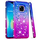 for Huawei Mate 20 Pro Case Glitter Liquid and Screen Protector,QFFUN Bling Sparkle Quicksand Gradient Colors Design Shiny Diamond Frame Clear Slim Fit Protective Phone Case Bumper - Blue and Purple