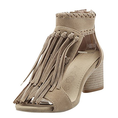 Mee Shoes Women's Fashion High Heel Block Heel Zip Tassel Sandals Shoes Beige OGwC0