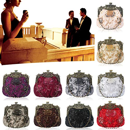 Grey Clutches Wedding Vintage CUTEQ Beaded Party Purse Women's Sequin Bags Evening vxqwPaC