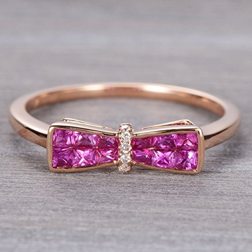 Cushion Cut Bow Shape Ruby Ring in 18k Rose Gold,Ruby and Diamond Ring