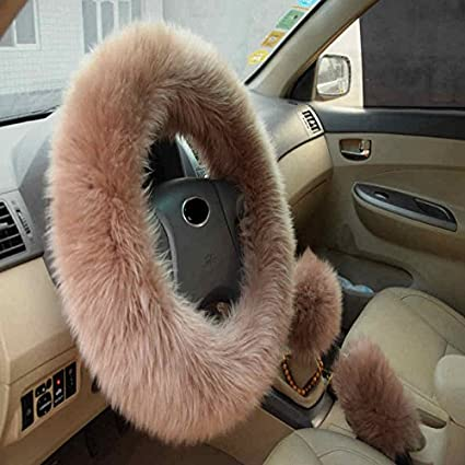 amazon com 3 in 1 cover set universal long furry steering wheelamazon com 3 in 1 cover set universal long furry steering wheel cover shifter cover and parking brake cover (brown) automotive