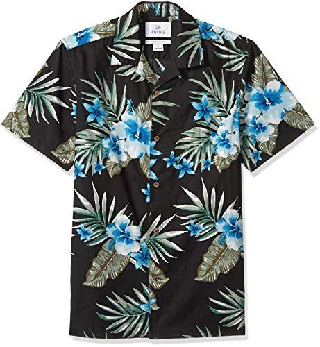 28 Palms Men's Standard-Fit 100% Cotton Tropical Hawaiian Shirt, Black/Blue Hibiscus Floral, Medium