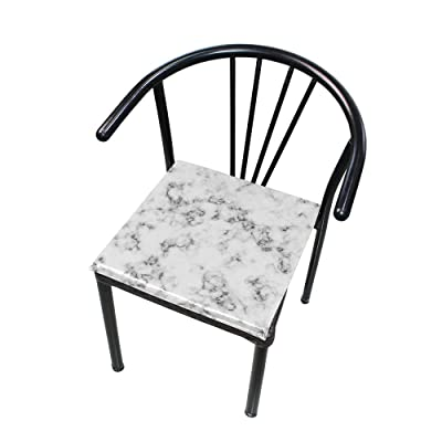 """HNTGHX Outdoor/Indoor Chair Cushion Abstract Marble Texture Square Memory Foam Seat Pads Cushion for Patio Dining, 16"""" x 16"""": Home & Kitchen"""