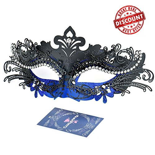 [Masquerade Masks, Cozypony Lacer Cut Luxury Princess Venetian Ball Masks with Rhinestone for Halloween Mardi Gras Party or Wedding (One Size,] (Blue Mardi Gras Mask)