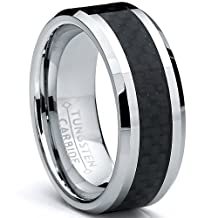 Metal Masters Co.® 8MM Men's Tungsten Carbide Ring Wedding Band W/ Carbon Fiber Inaly sizes 5 to 15